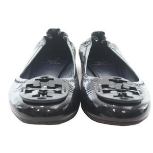 TORY BURCH NAVY PATENT LEATHER BALLET FLATS 8.5